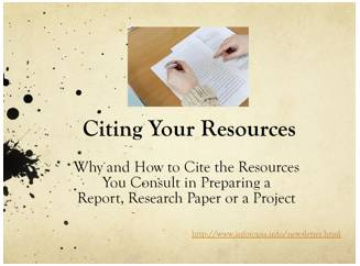 Citing Your Resources--Why and How to Cite Your Resources (in PDF format)